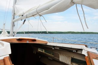 Photograph looking ahead on the sail boat Cornucopia, on Stockton Lake in the Missouri Ozarks
