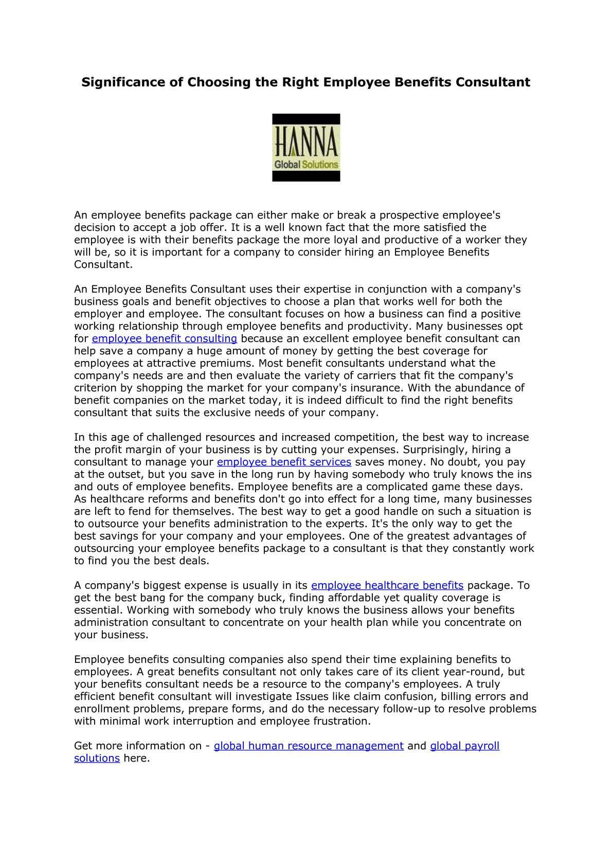 benefits consultant resume job description