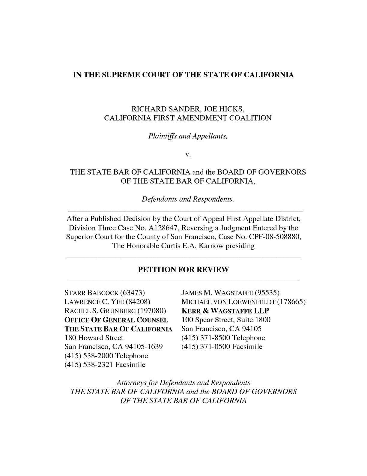 California State Bar Calaméo State Bar Of California Petition For Review To