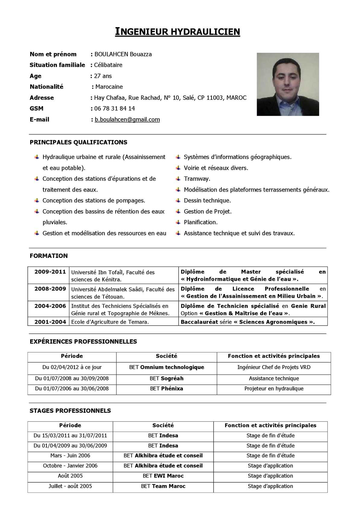 cv formation ingenieur
