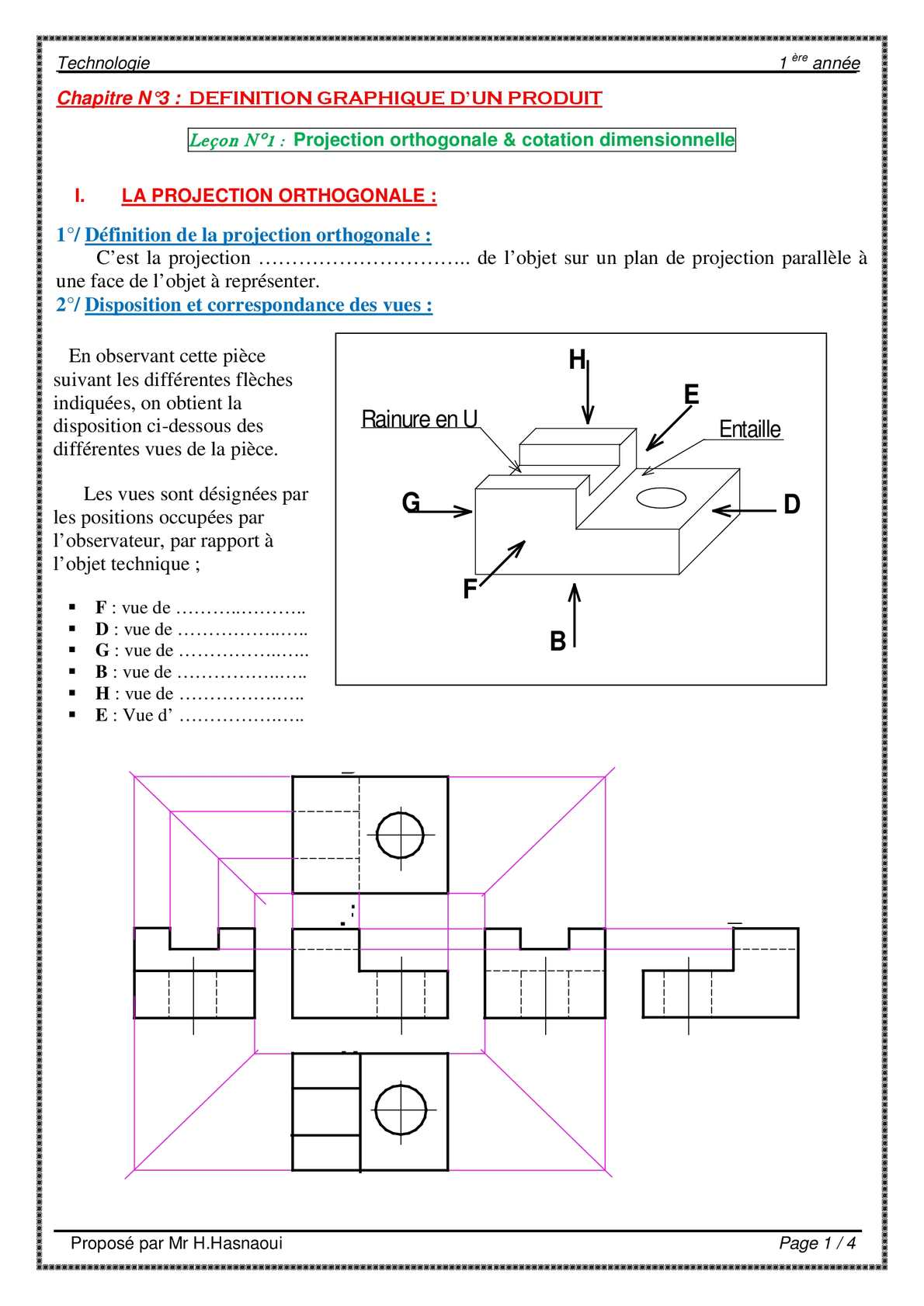Cotation Piece Calaméo Ch3 Lec1 Projection Orthogonale And Cotation
