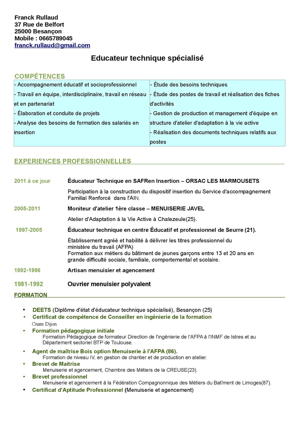 model cv moniteur educateur