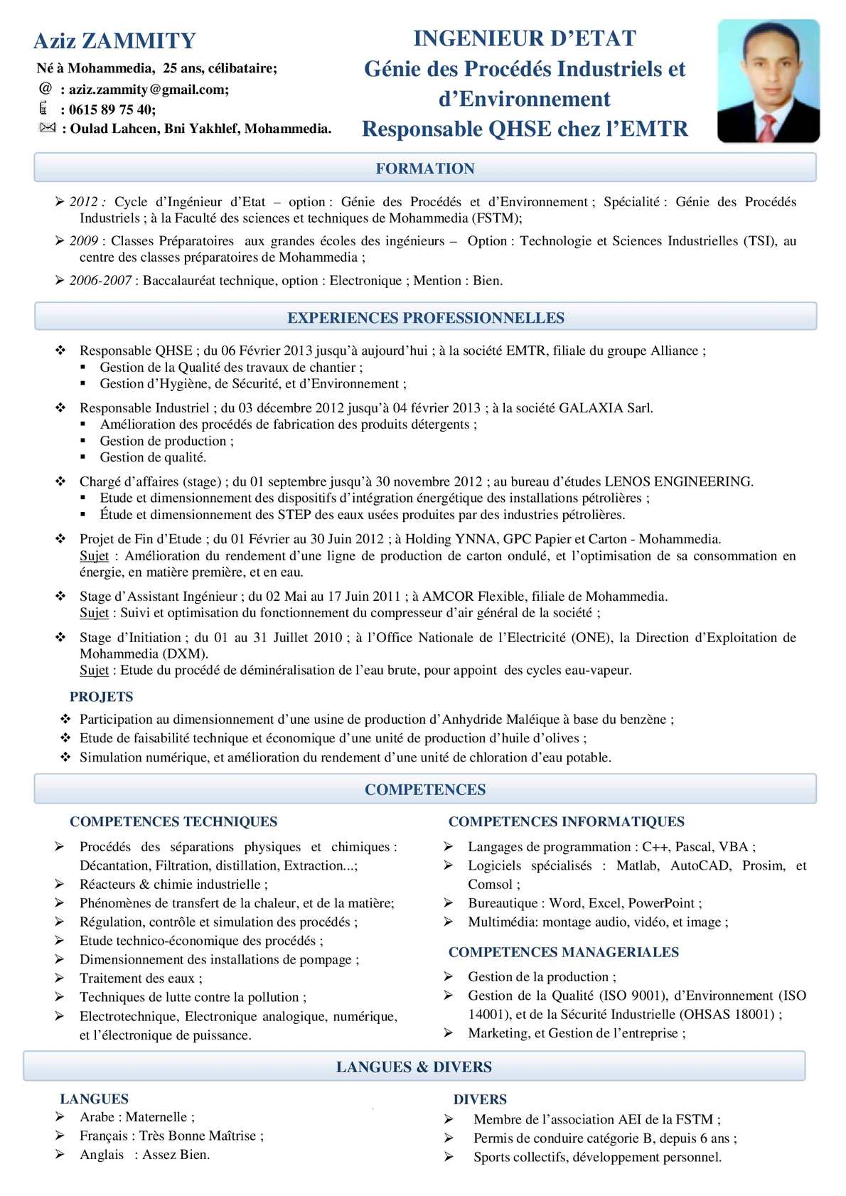 cv ingenieur securite