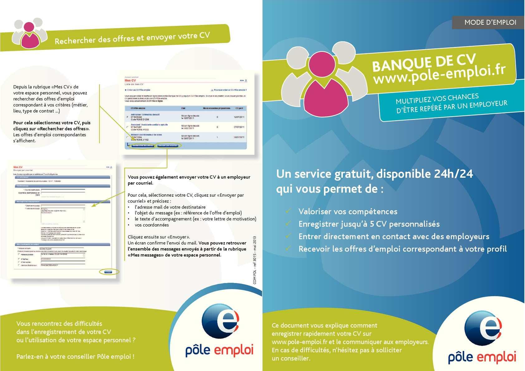 banque de competences pole emploi cv
