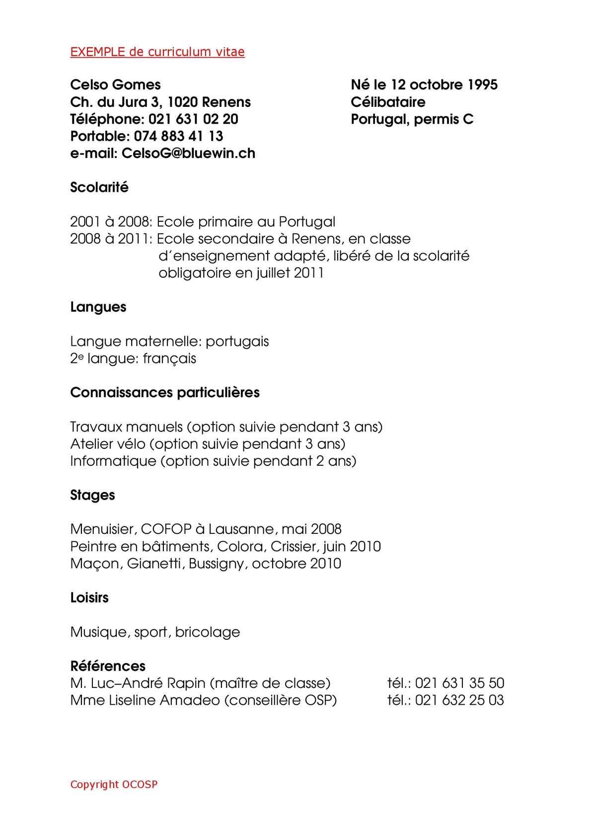cv francais langue