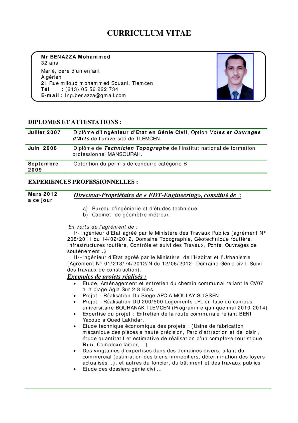 cv technicien genie civil