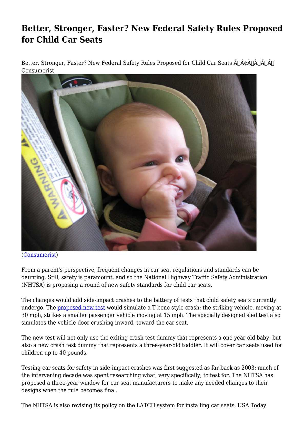 Baby Car Seat Test Calaméo Better Stronger Faster New Federal Safety Rules