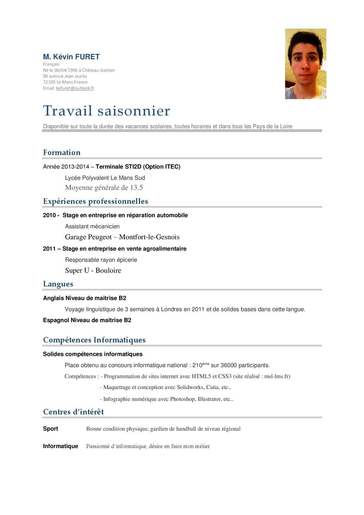 difference cv saisonnier et stage