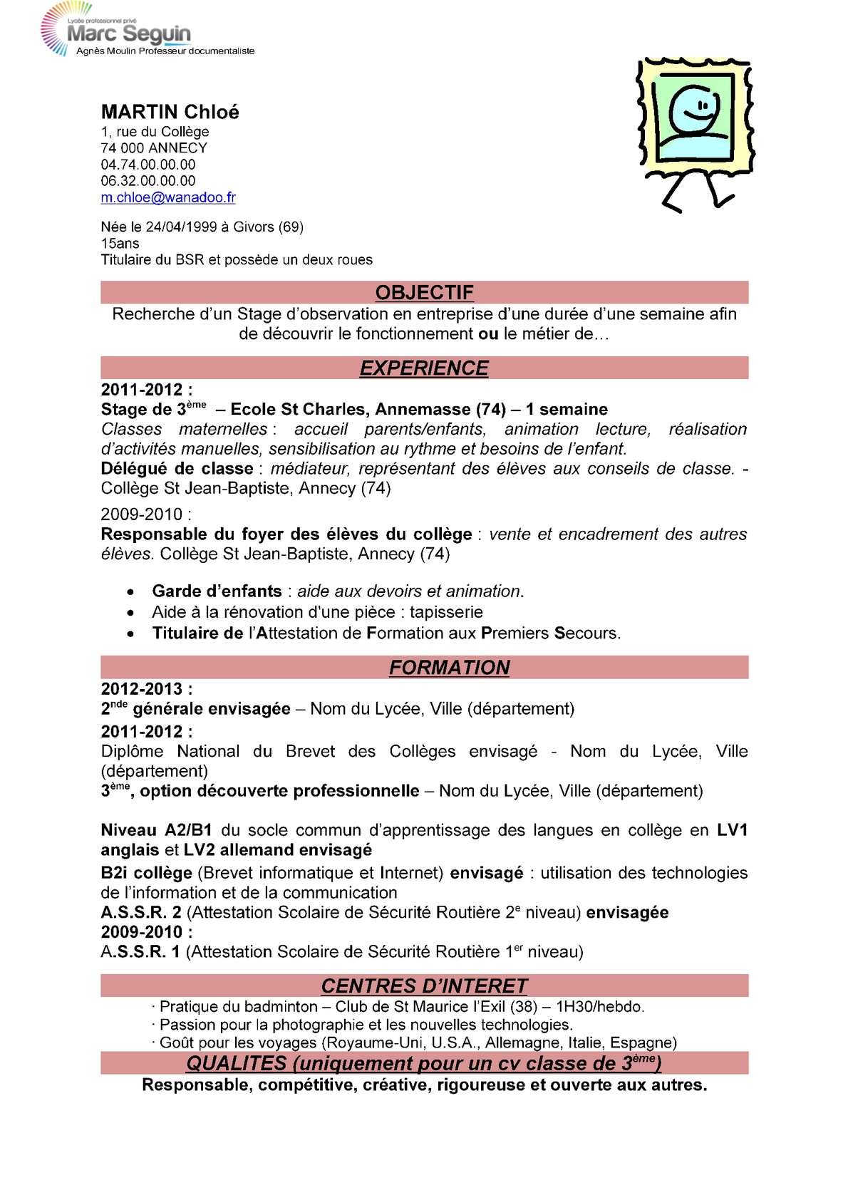 exemple de cv d un eleve de seconde
