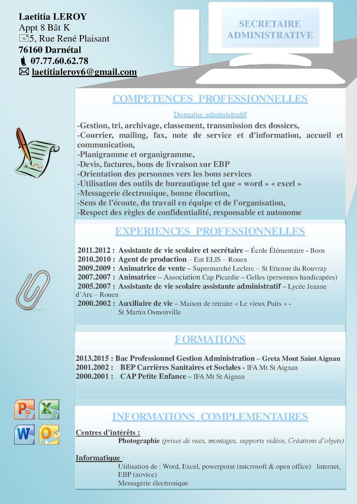 competences professionnelles cv agent administratif