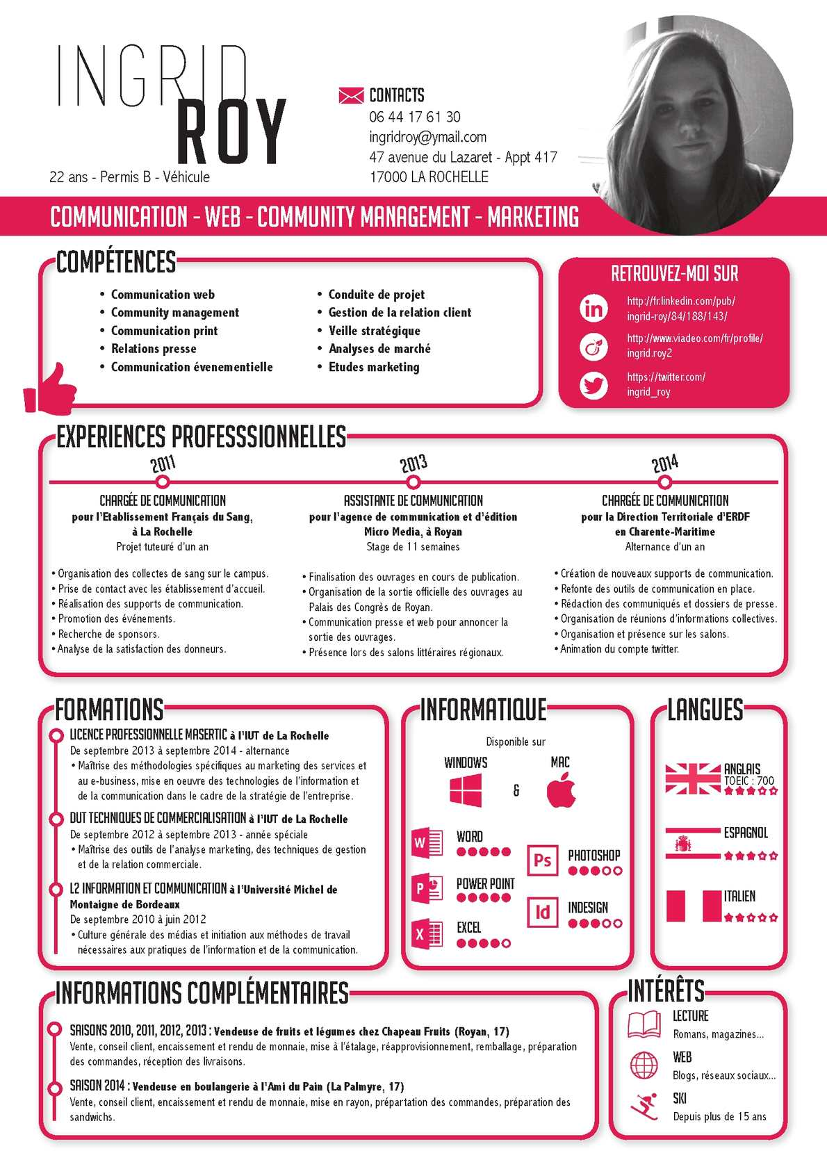 cv recherche stage marketing