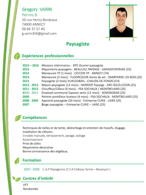 competences cv espace vert