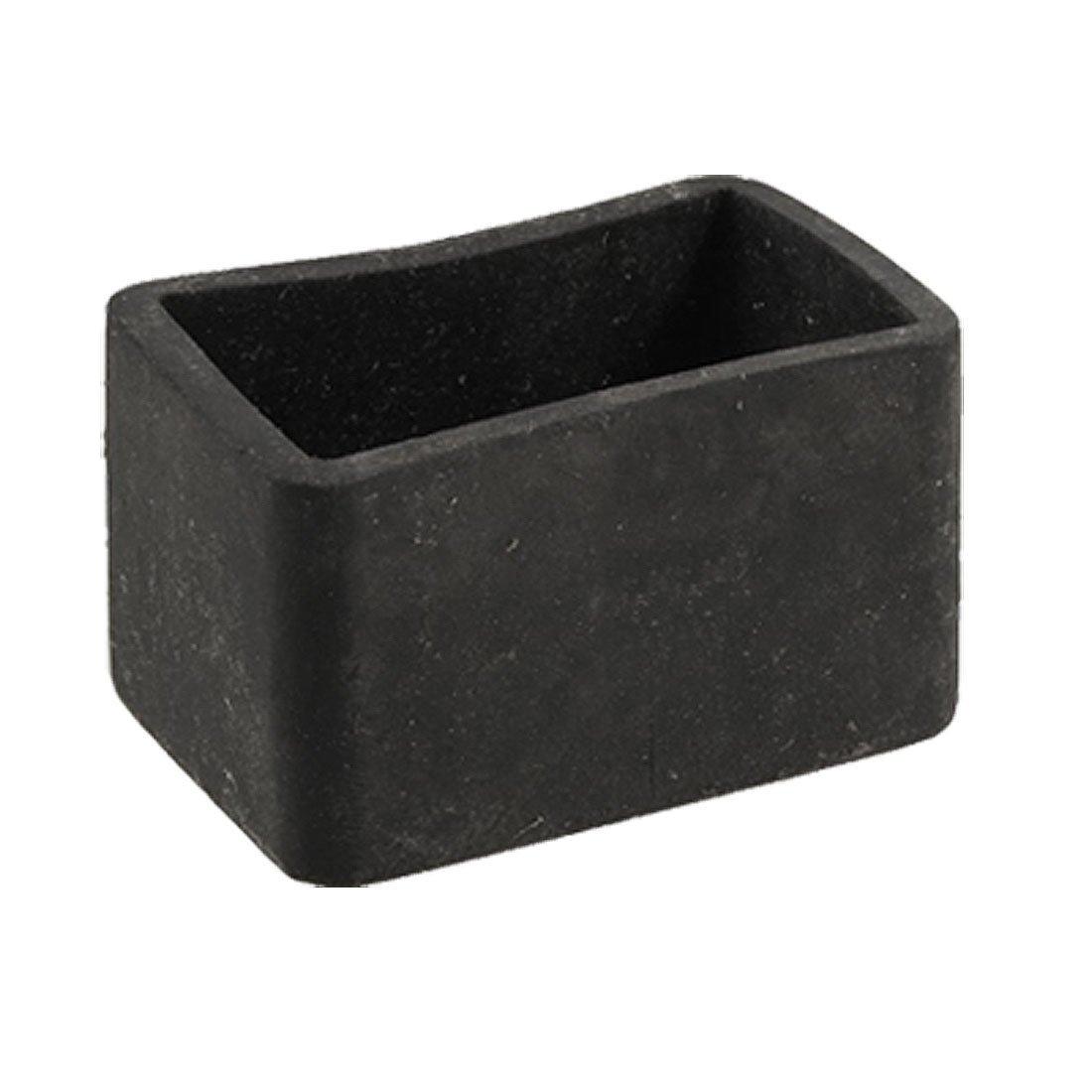 Table Chair Leg Black Rubber Rectangle 25mm X 38mm