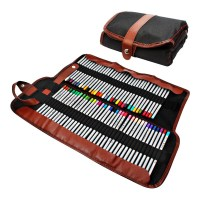 72 assorted colored pencils Organizer Roll up Washable ...