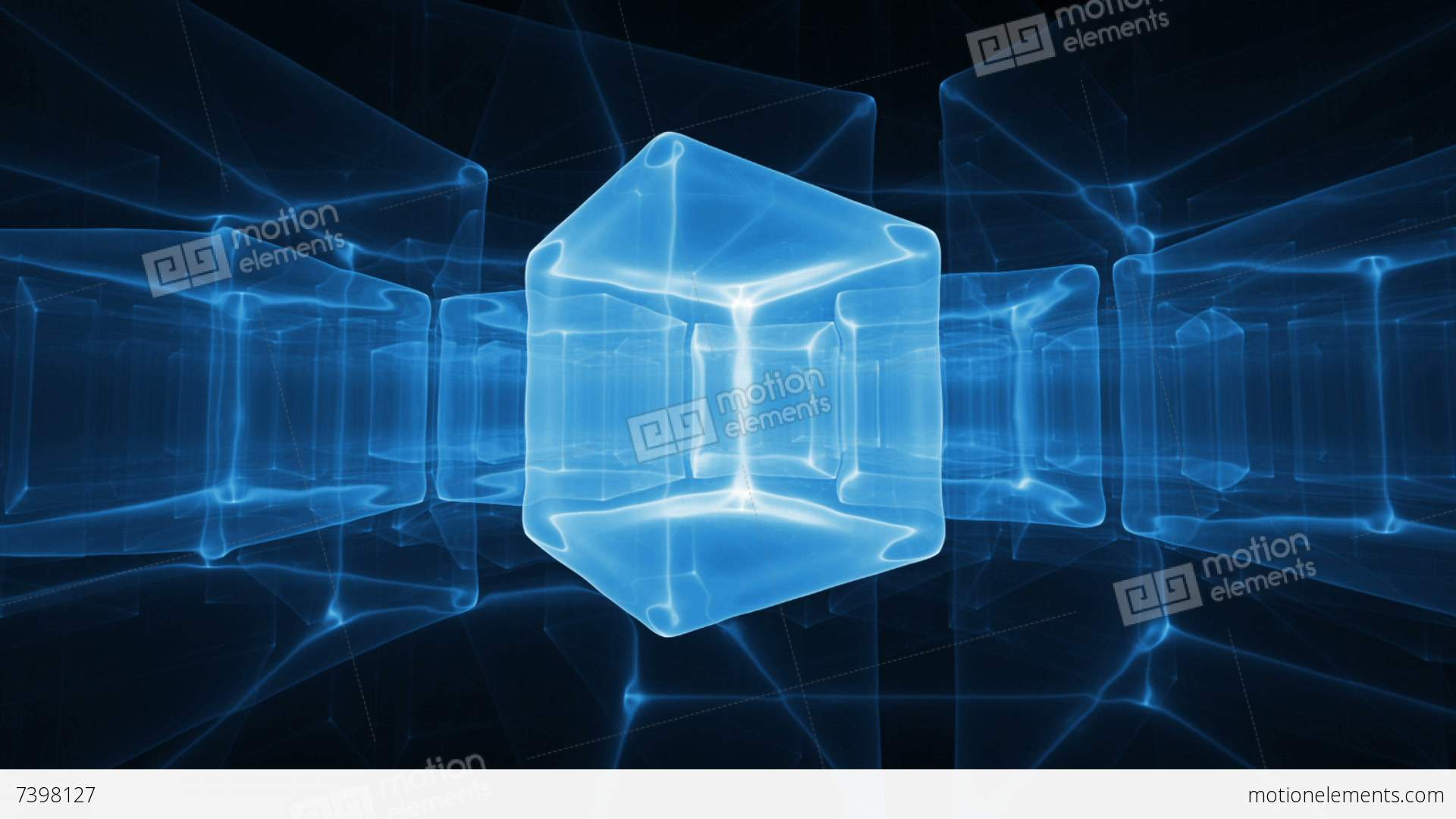 Cubes 3d Wallpaper Neon Blue Ice Cubes Rotating On Black Background Stock