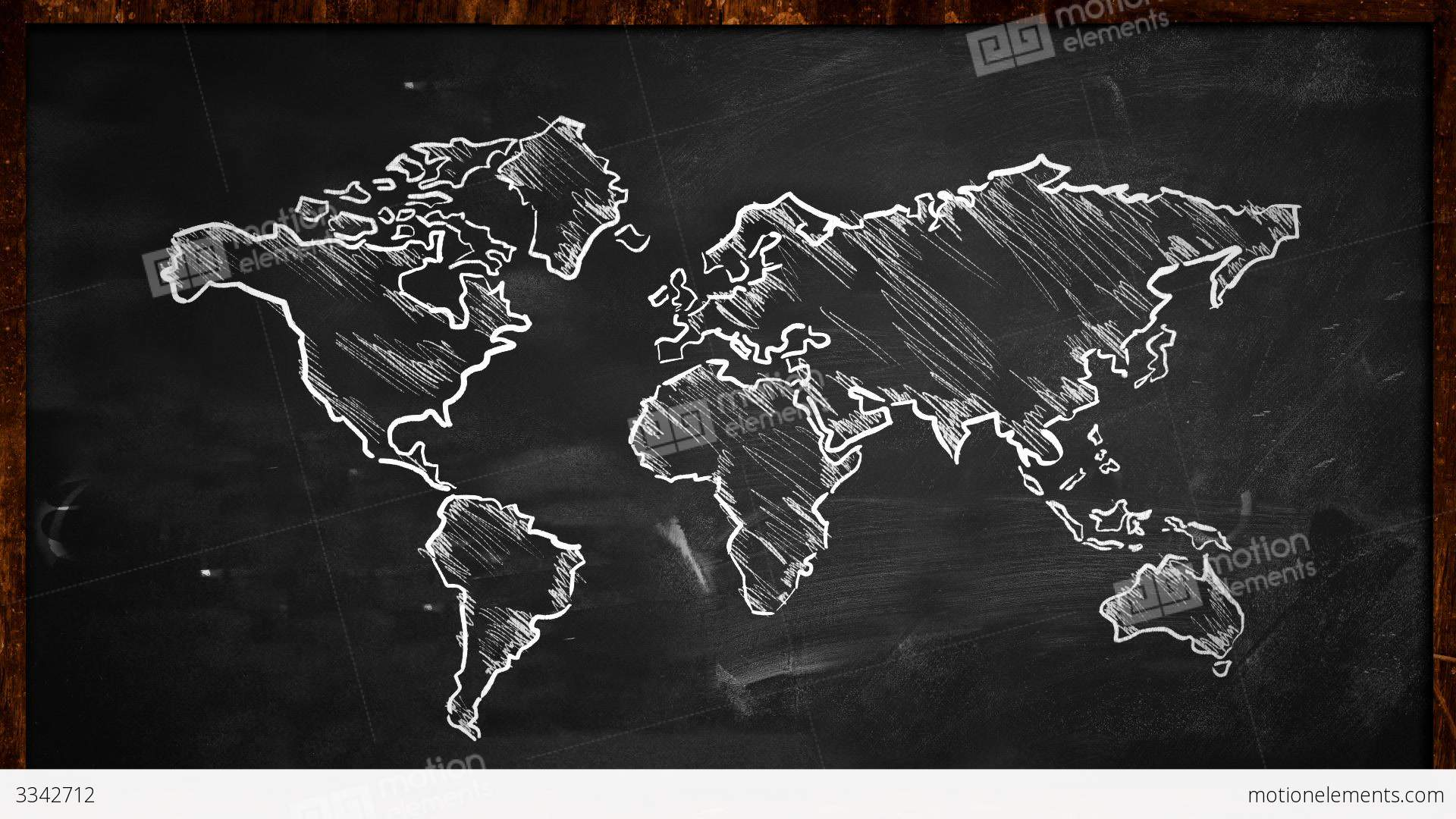 Vintage Black Wallpaper World Chalk Sketch On Blackboard Looping Animation Stock