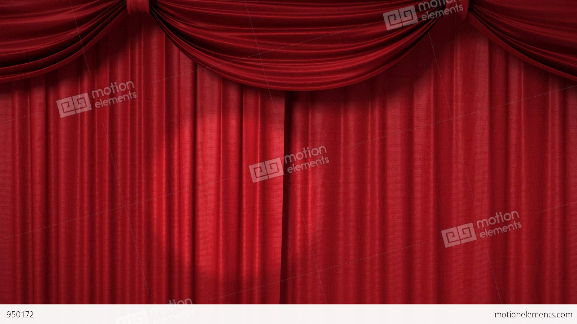 Opening and closing red curtain with spotlights stock