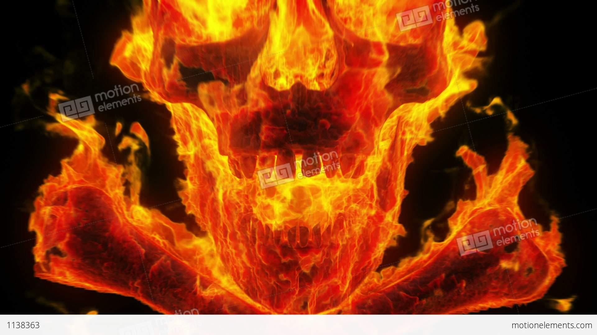 Danger 3d Wallpaper Burning Skull And Crossbones Stock Animation 1138363