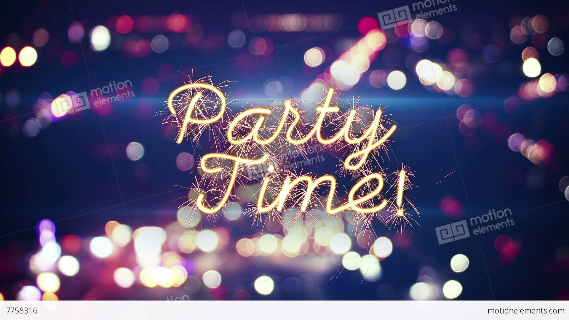 3d Wallpaper City Lights Party Time Sparkler Text And City Bokeh Lights 4k