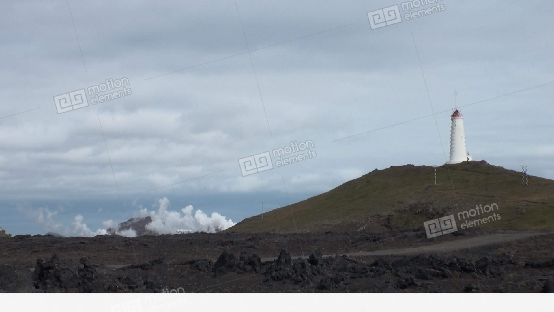 Lighthouse Background Lighthouse In Background Of Geysers On Shores Of Arctic Ocean In