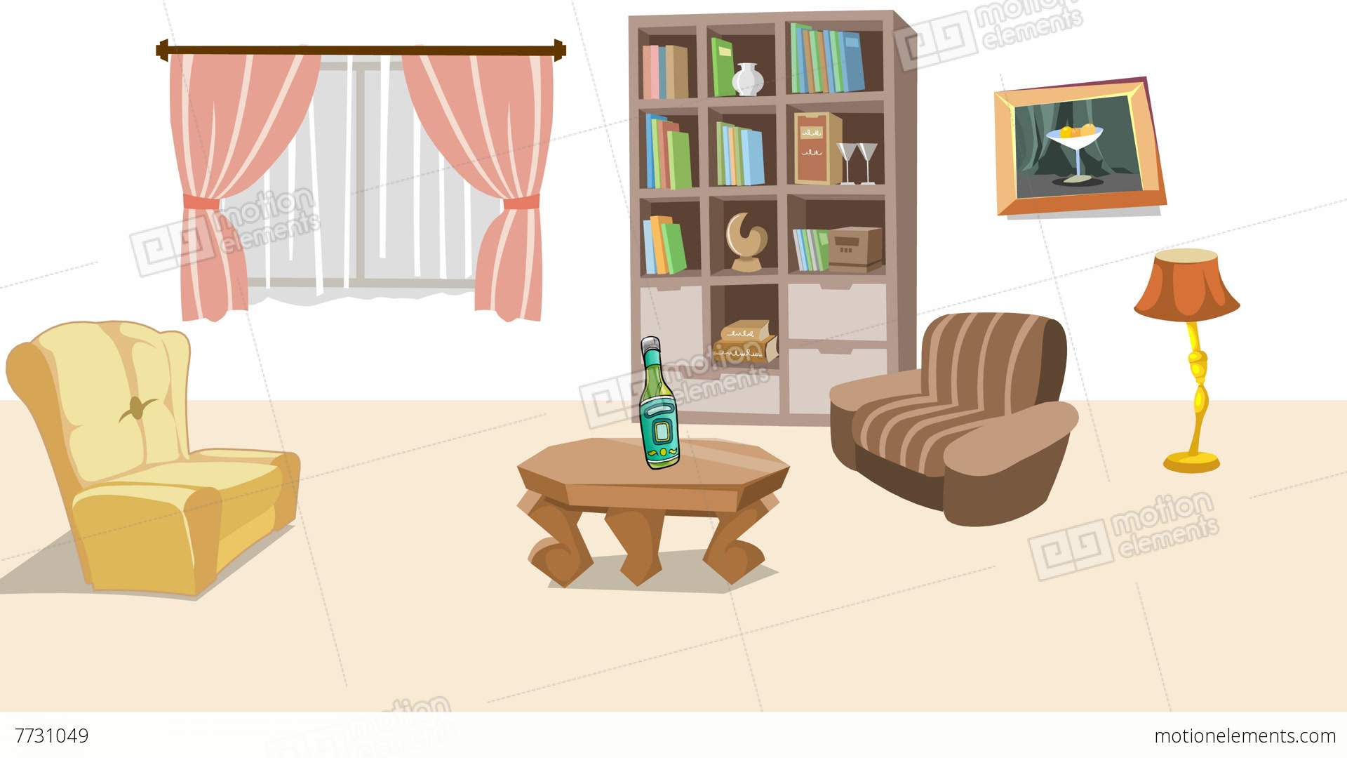Black And White Wallpaper Living Room Earthquake In Cartoon Living Room Stock Animation 7731049