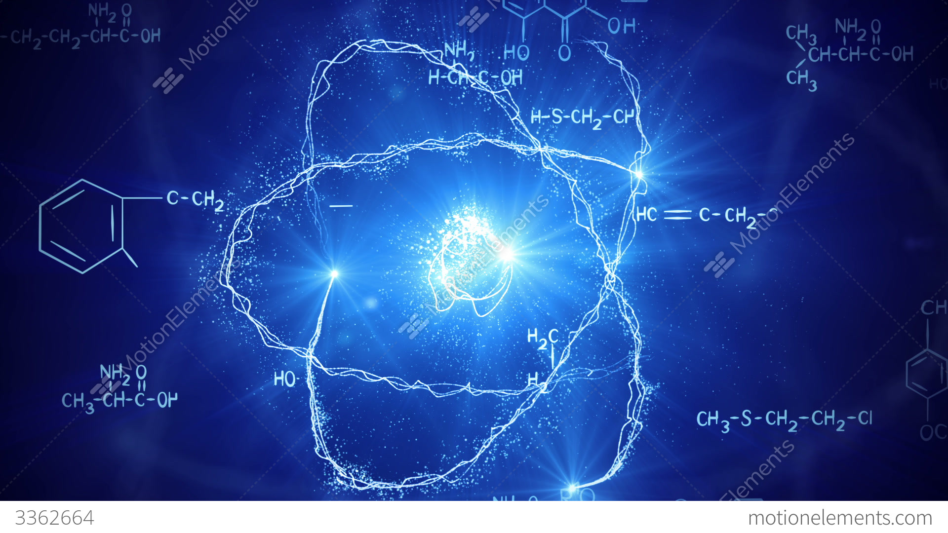 Free Animated Wallpaper Backgrounds Shiny Atom Model And Chemistry Formulas Loopable Stock