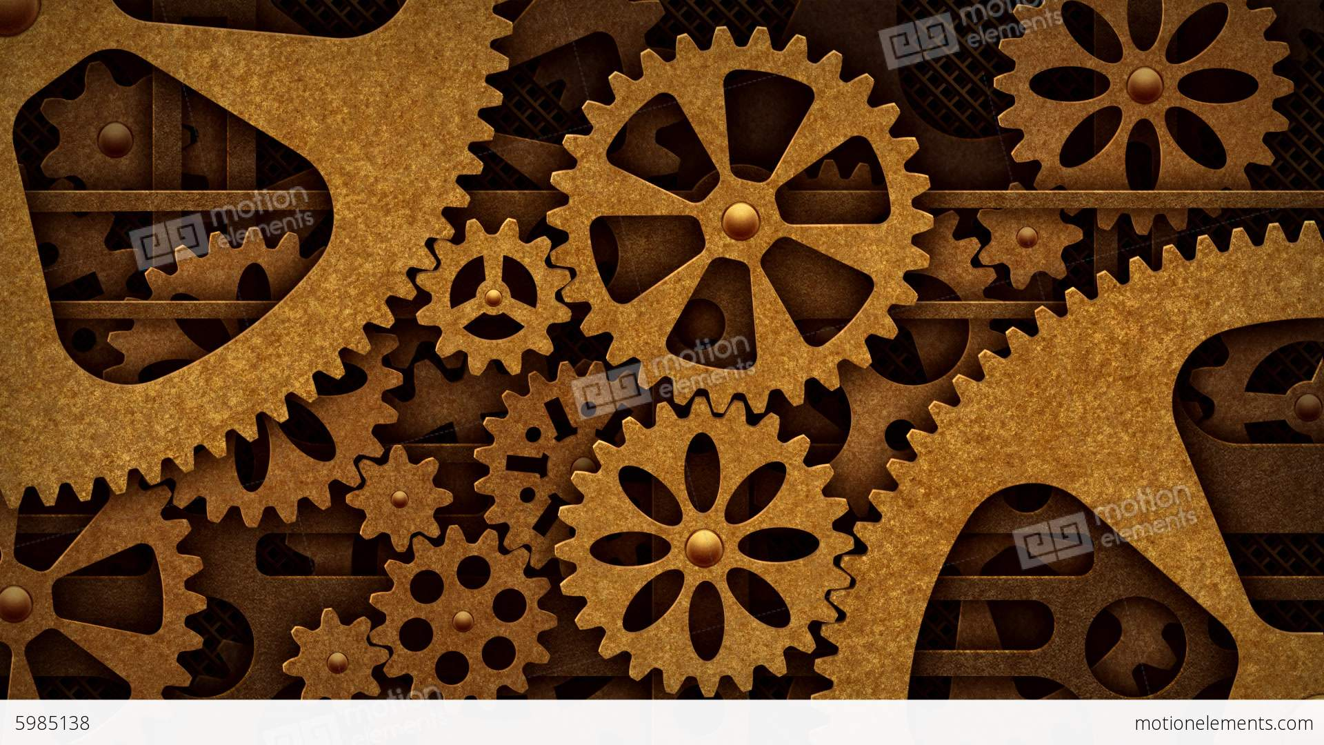 3d Live Moving Wallpaper Steampunk Mechanism With Gears Stock Animation 5985138