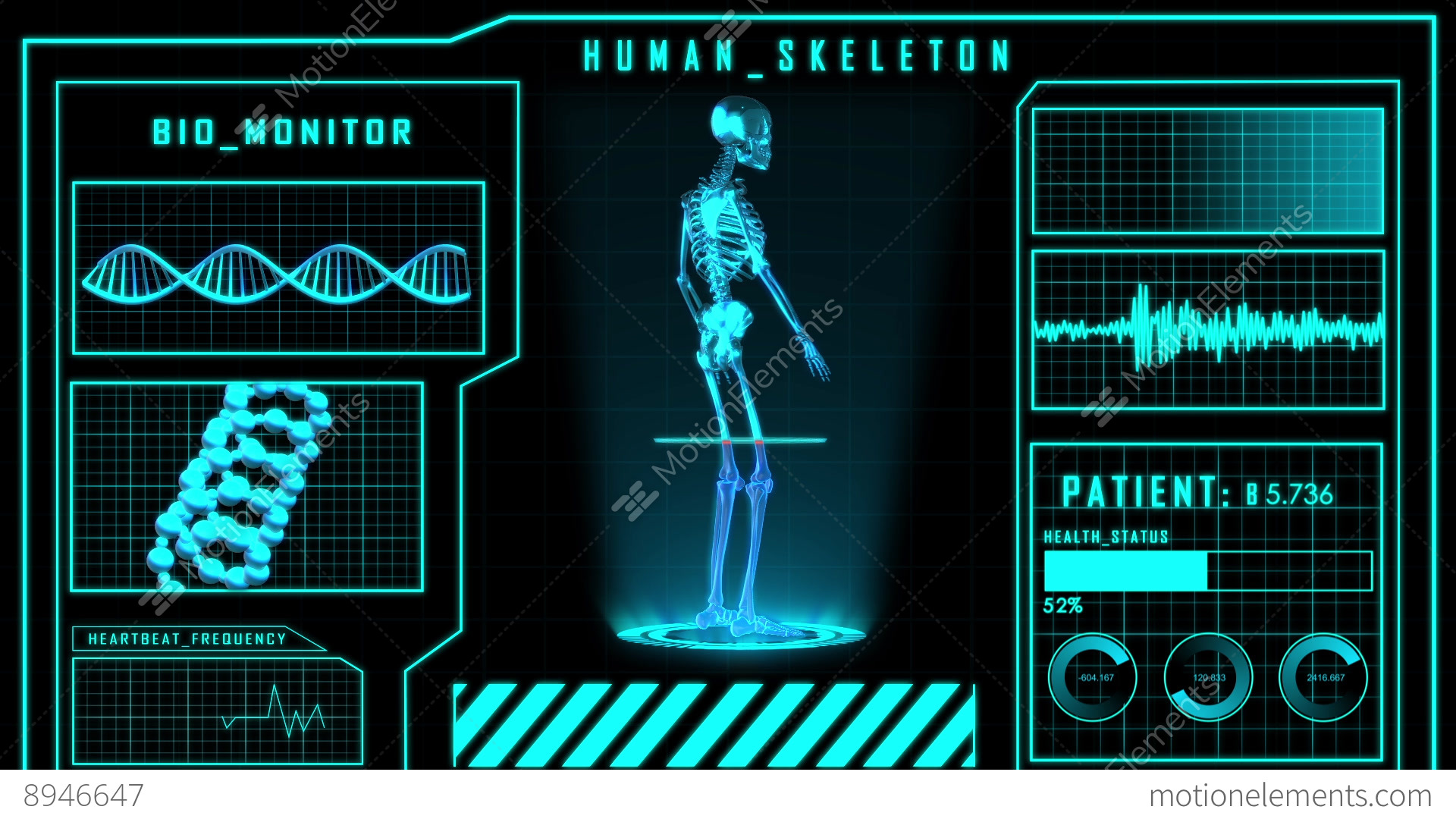 3d Hologram Wallpaper App Science Fiction Medical Design Element Human Skeleton Or