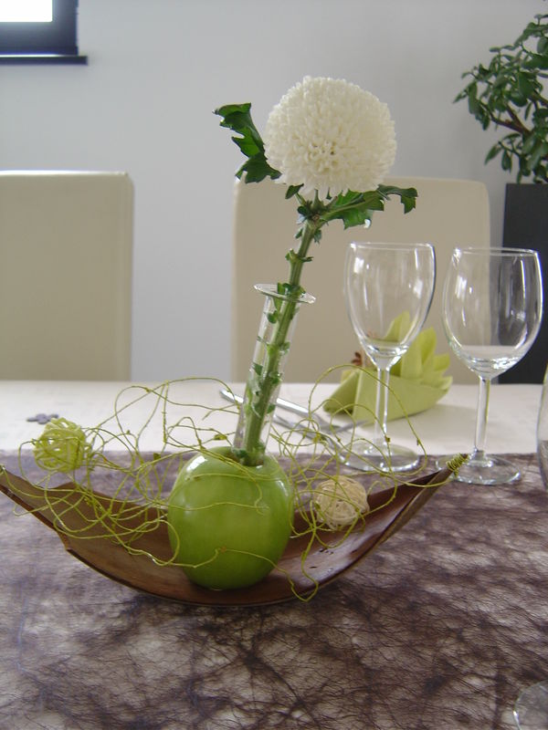 "Decoration Florale Anniversaire Idee Deco De Table ""pommes Vertes"" - Lutin's Scrap&cook"