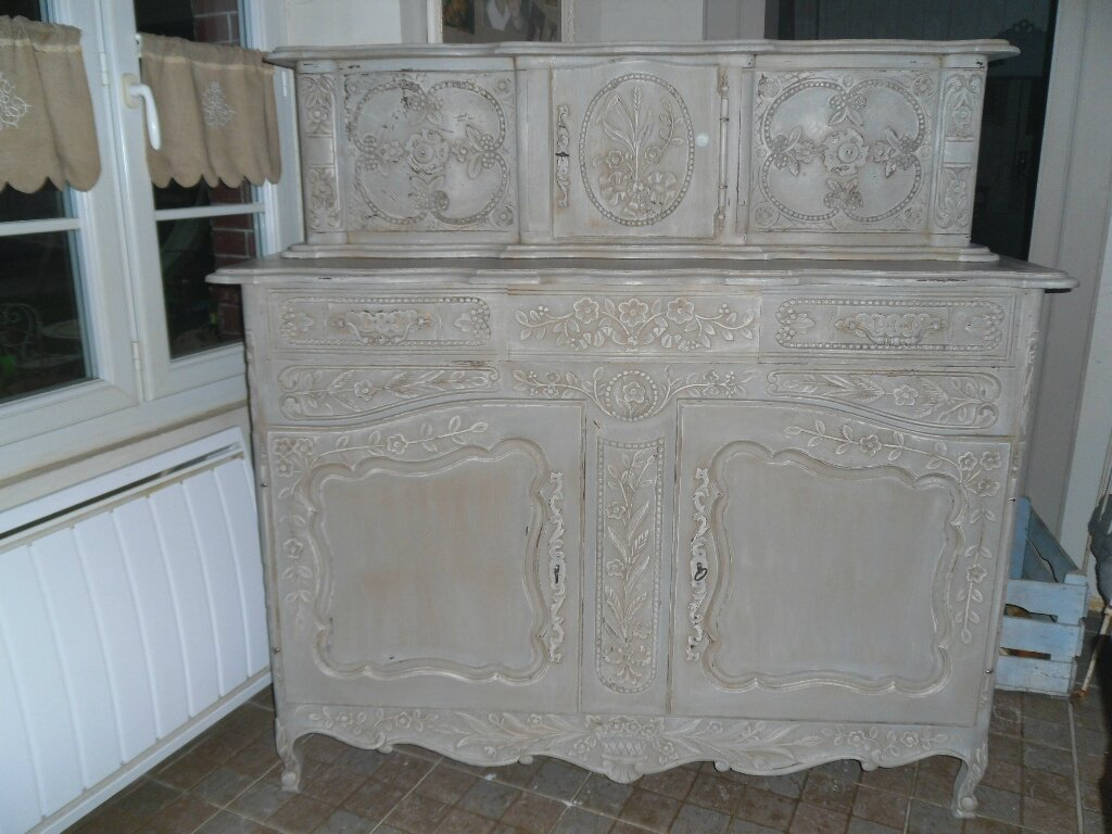 Patin De Meuble Buffet Patine Gris Ancien Atelier Retouche Paris