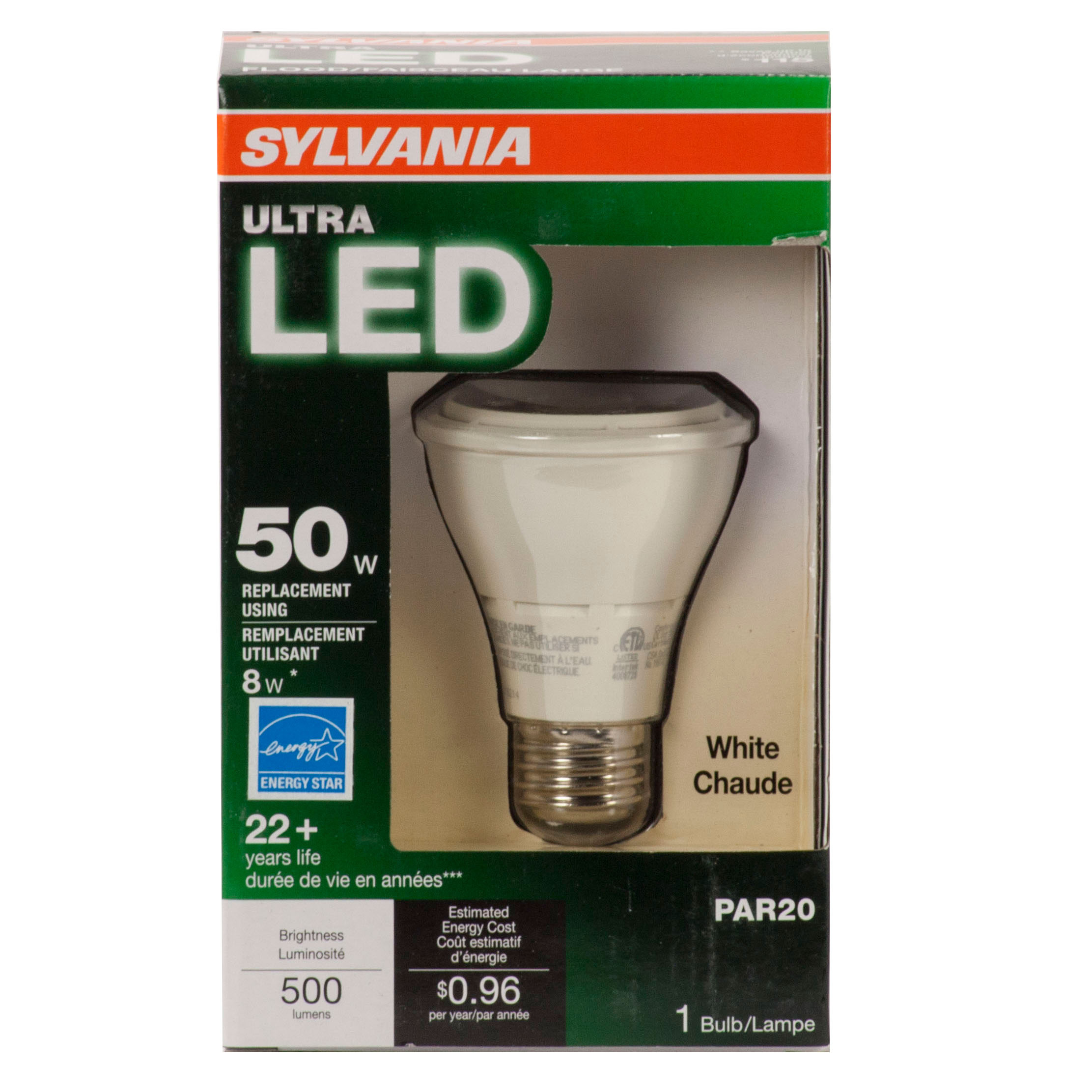 Sylvania Eclairage Sylvania 78991 Ultra Led 500 Lumen Led Ultra Par20 8 Watt Dimmable Replacement Bulb