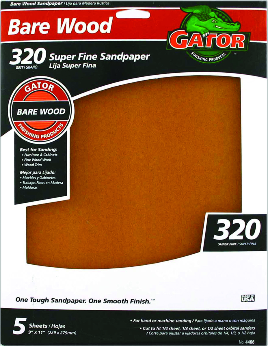 Ali Muebles Ali 4466 Gator 9 By 11 Inch Bare Wood Sandpaper 320 Grit Garnet 5 Sheets