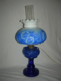 69: Vintage Cobalt Blue Hurricane Lamps : Lot 69