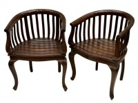249: (4) TEAK WOOD BARREL BACK CHAIRS : Lot 249