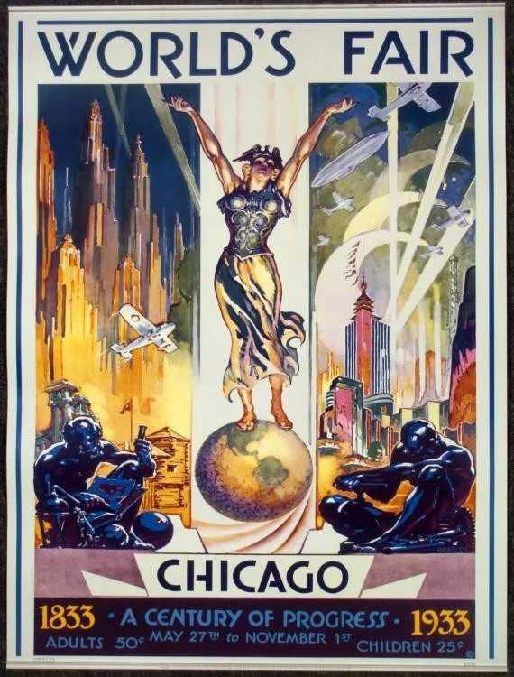 Buffets In Chicago 1933 Chicago Worlds Fair Century Of Progress Poster