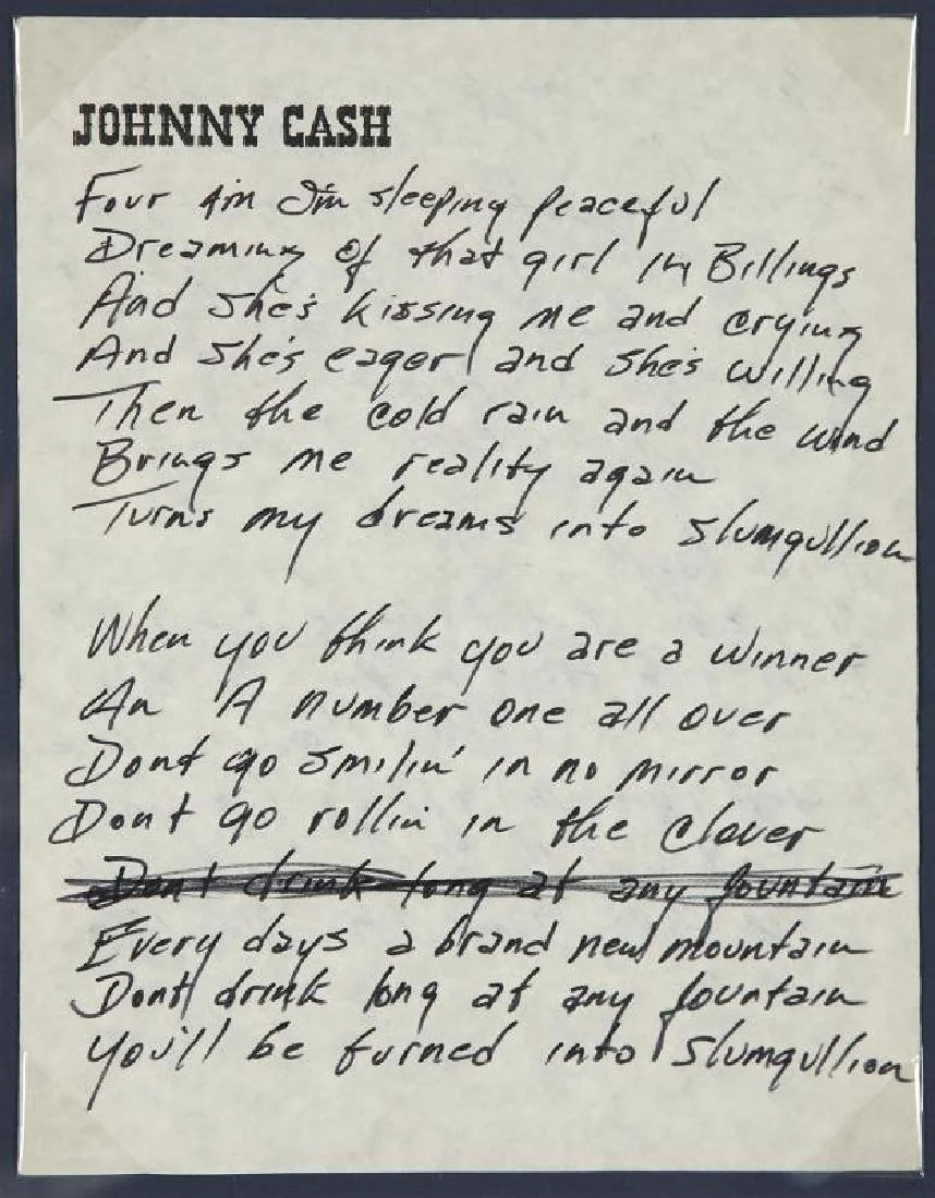 Johnny Cash Pool Song Johnny Cash Handwritten