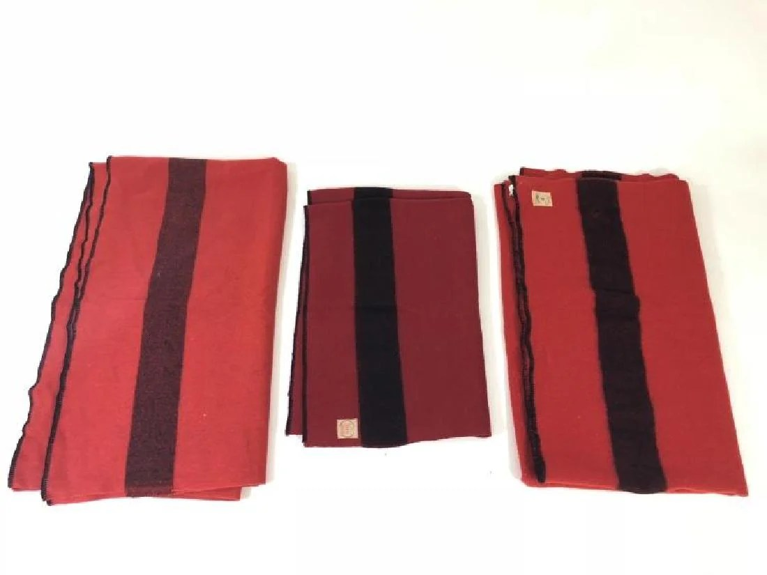 Camp Blankets 3 Canadian Red Black Wool Camp Blankets On Liveauctioneers