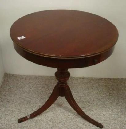 338 Mersman Mahogany Drum Table With Splay Leg Base
