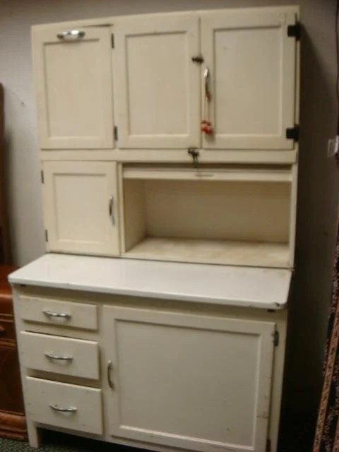 Hoosier Style Kitchen Cabinet 6 White Painted Hoosier Style Kitchen Cabinet