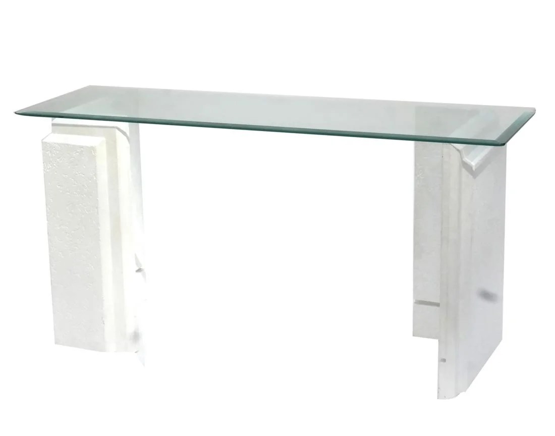 Glass Top Console Table Modernist Faux Stone Glass Top Console Table On Liveauctioneers