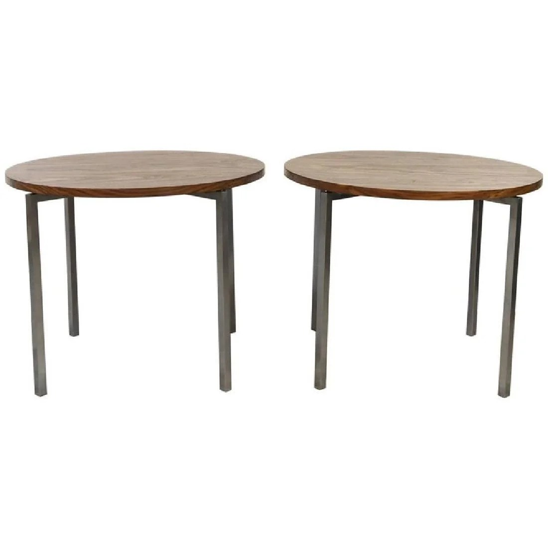 Tables Knoll Florence Knoll Wooden Top Circular End Tables On Liveauctioneers