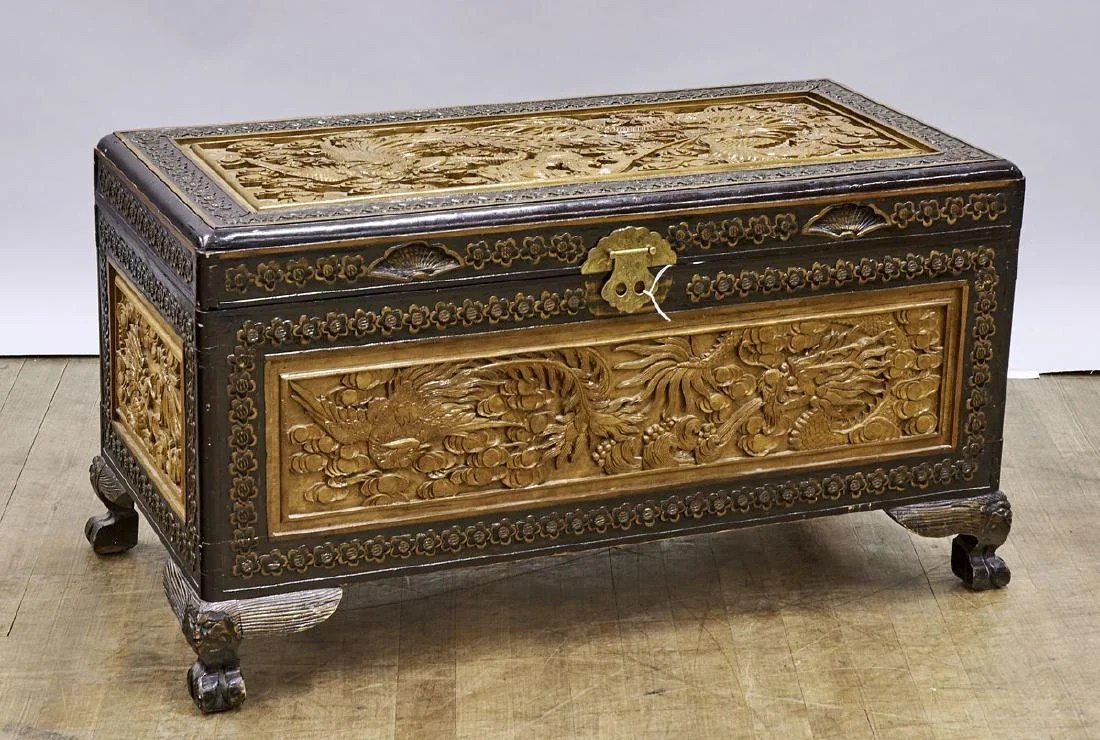 Wood Blanket Box Chinese Carved Wood Blanket Chest On Liveauctioneers