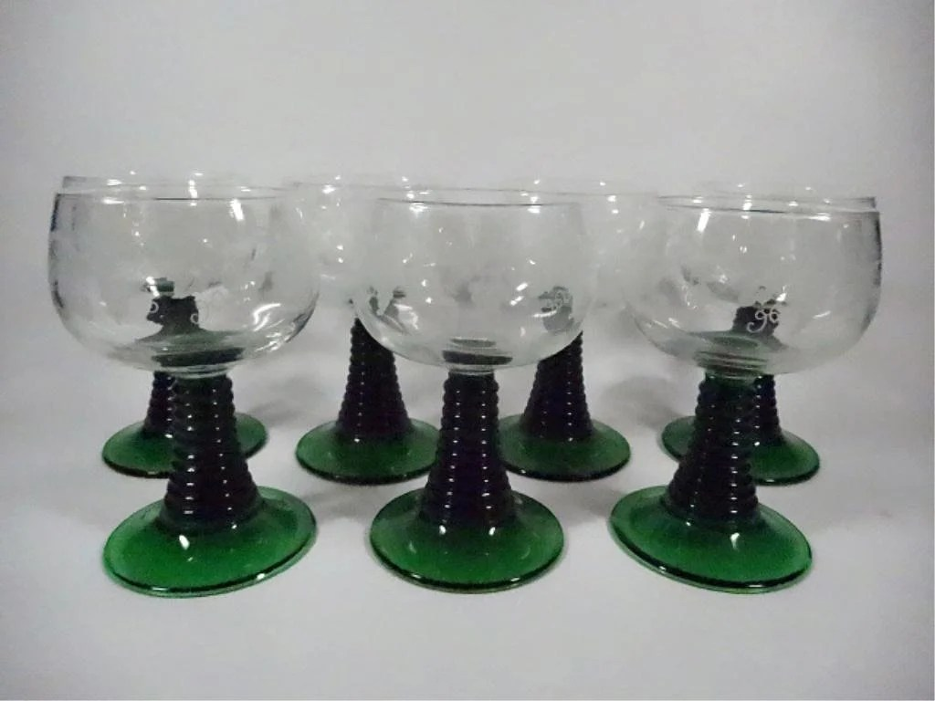 Luminarc Glass 7 Luminarc Wine Glasses Green Stems Made In France On Liveauctioneers