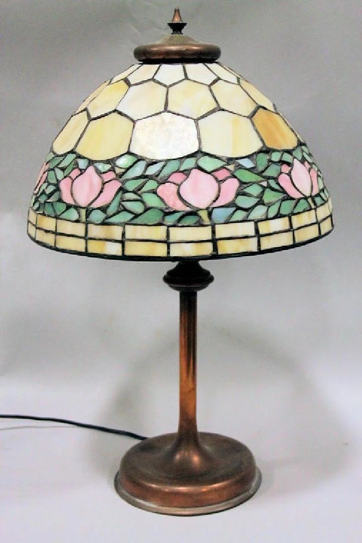 Glass Lamp Art Unique Art Glass Metal Co Leaded Glass Lamp On Liveauctioneers