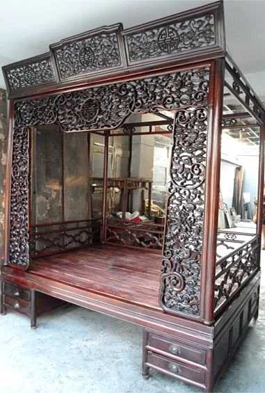 Art Deco Style Sofas Exquisite Antique Chinese Rosewood Carved Canopy Bed