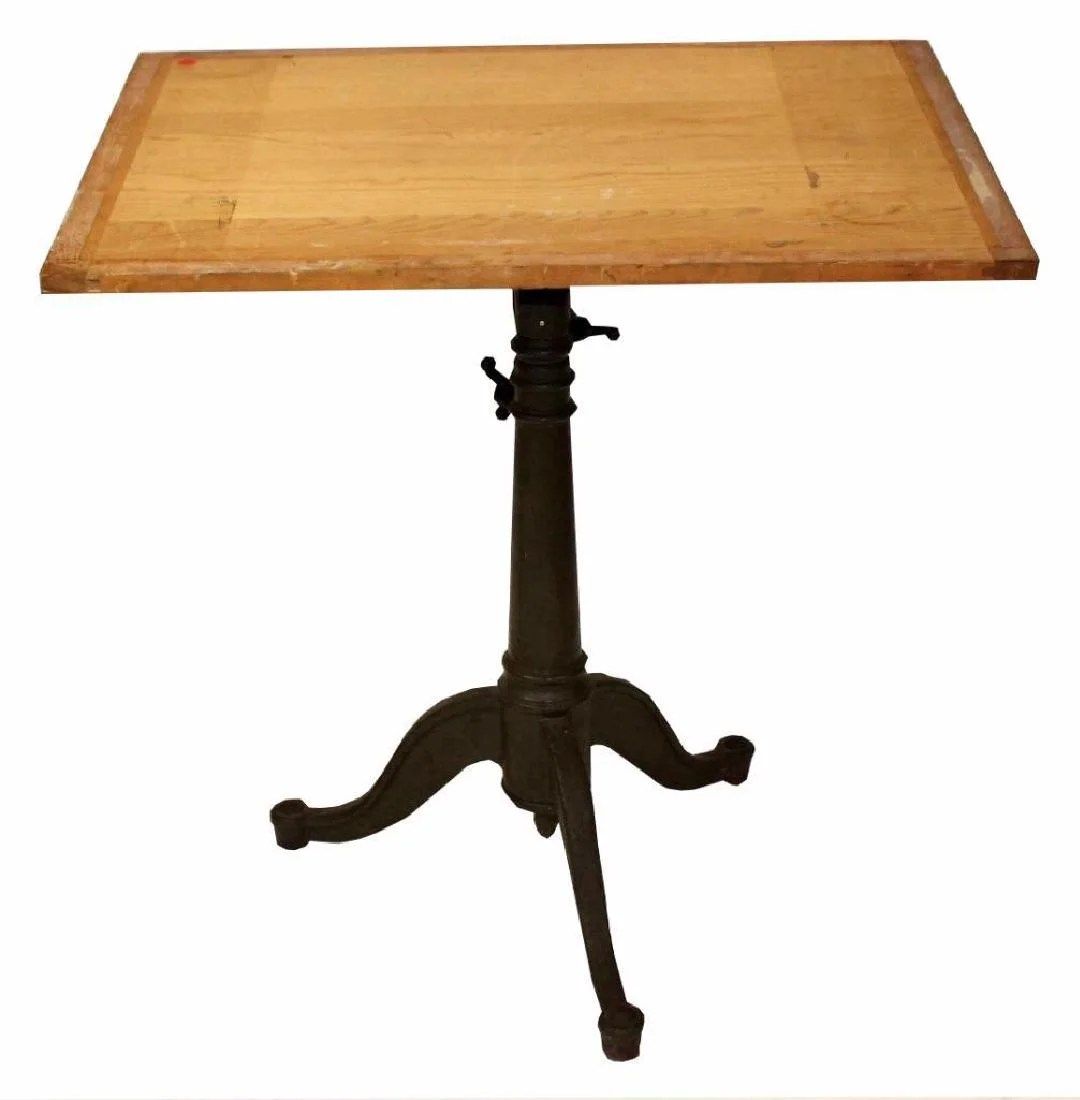 Adjustable Height Drafting Table 1930 S Cast Iron Base Drafting Table On Liveauctioneers