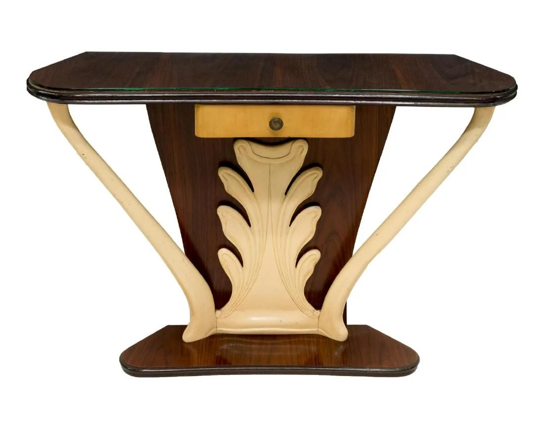 Glass Top Console Table Italian Art Deco Glass Top Console Table On Liveauctioneers