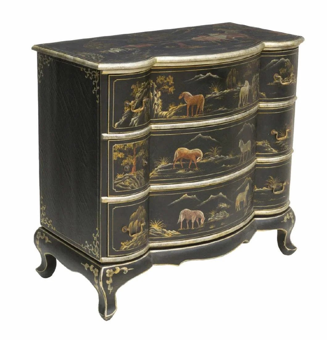 Commode Maya But Decorative Painted Commode Depicting Horses On Liveauctioneers