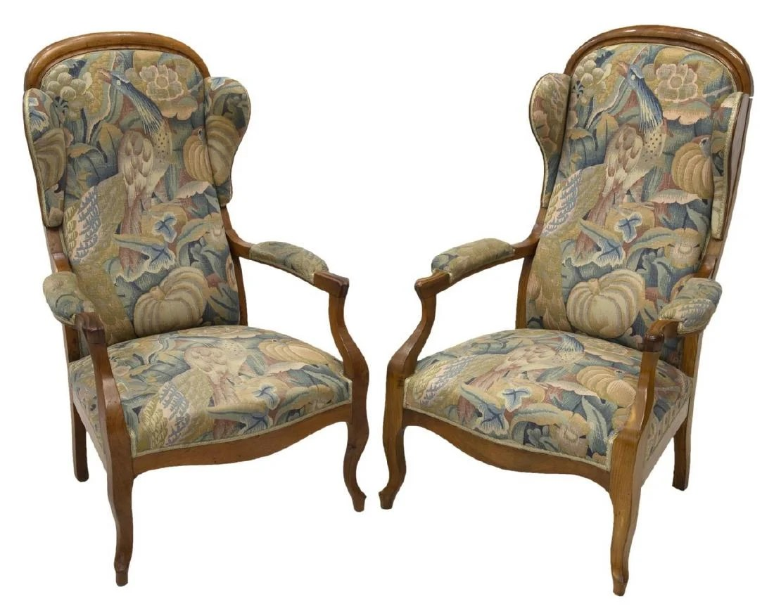 Voltaire Fauteuils 2 French Fruitwood Wingback Voltaire Fauteuils Jul 21