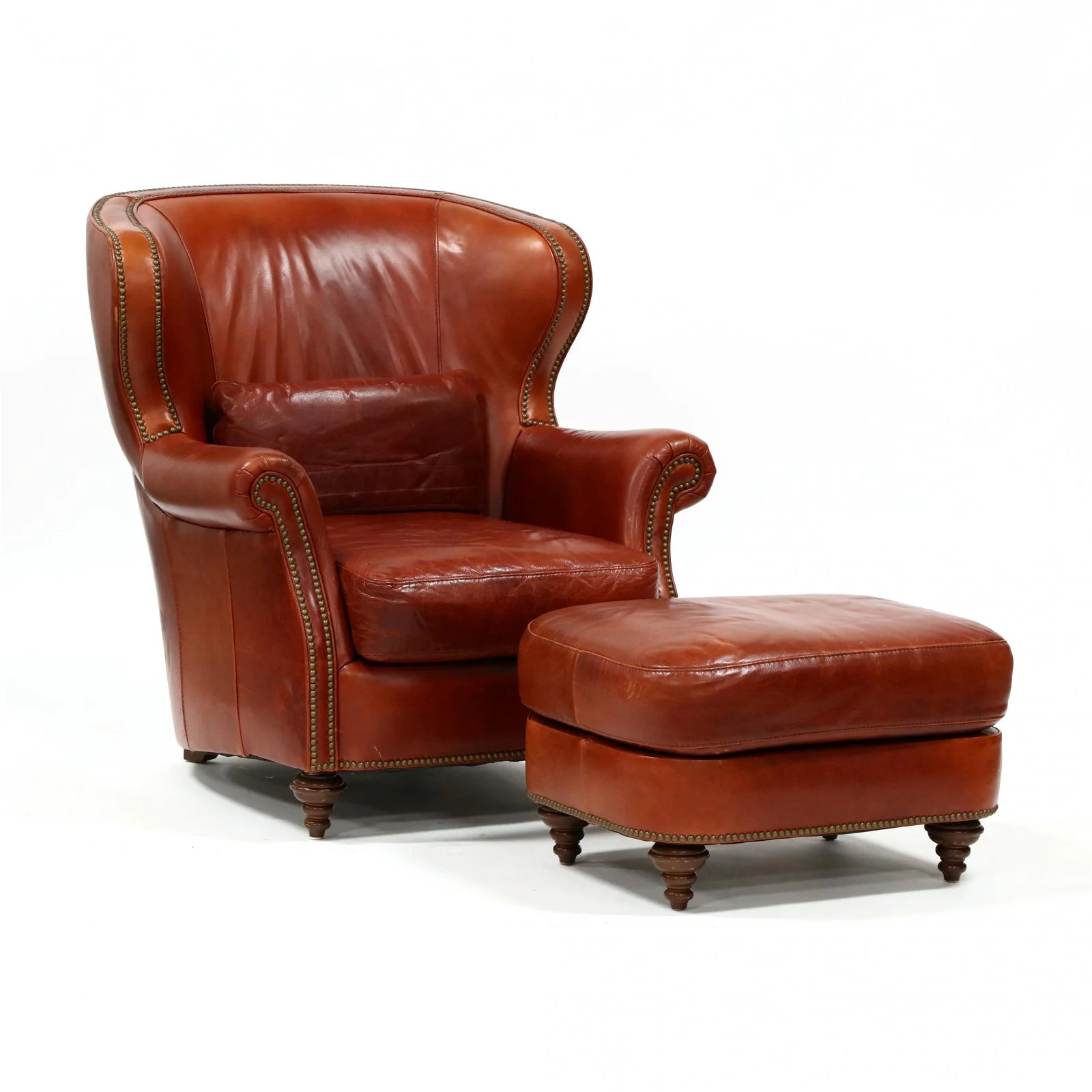 Bradington Young Leather Club Chair And Ottoman Nov 12 2020 Leland Little Auctions In Nc